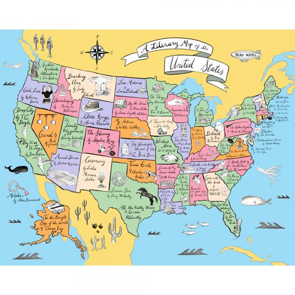 Map Of America 52 States.A Literary Map Of The United States Ibd 2017 Exclusive Green